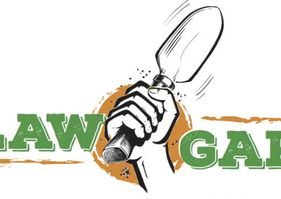 Outlaw garden logo with orange f29212